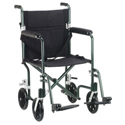 Drive Medical Green Flyweight 17 Aluminum Transport Wheelchair