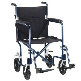 Drive Medical Blue Flyweight 19 Lightweight Aluminum Transport Wheelchair