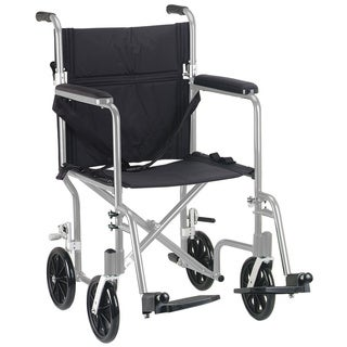 Drive Medical Silver Flyweight 19 Lightweight Aluminum Transport Wheelchair