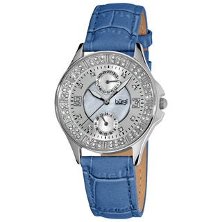 Burgi Women's Diamond Classic Stainless Steel GMT Date Strap Watch