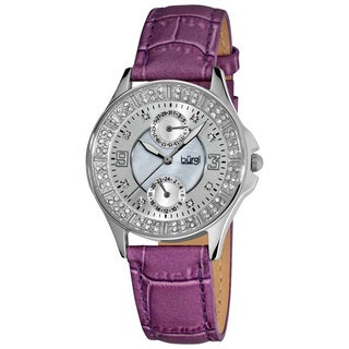 Burgi Women's Diamond Classic Stainless-Steel GMT Date Plum-Strap Watch