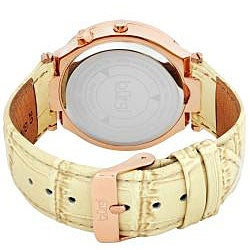 Burgi Women's Swiss Diamond Classic Stainless Steel Day Date Strap Watch