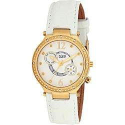 Burgi Women's Swiss Diamond Classic Stainless Steel Day/ Date Strap Watch