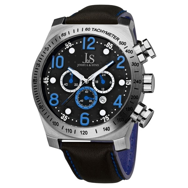 Joshua & Sons Men's Oversized Chronograph Stainless-Steel Sport Watch with Black Dial