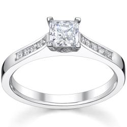 14k White gold 1 1/3ct TDW Diamond Princess-cut Engagement Ring (H-I, SI1-SI2)
