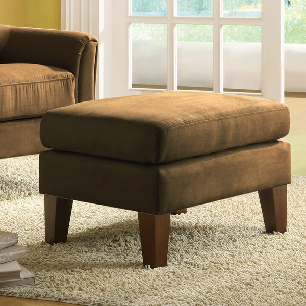TRIBECCA HOME Uptown Peat Microfiber Suede Modern Ottoman