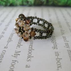 Crystal Beautiful Brown Beaded Flower Ring (USA)