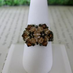 Crystal Beautiful Brown Beaded Flower Ring (USA)