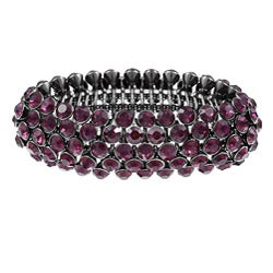Celeste Gunmetal Brass 5-row Purple Crystal Stretch Bangle