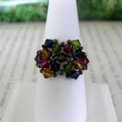 Crystal Multicolor Beaded Flower Ring