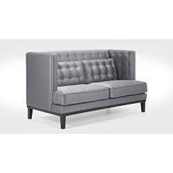 Modern Silver Satin Love Seat