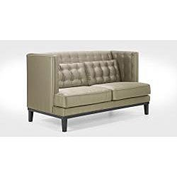 Modern Champagne Satin Fabric Love Seat