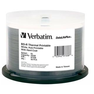 Verbatim BD-R 25GB 6X DataLifePlus White Thermal Printable, Hub Print