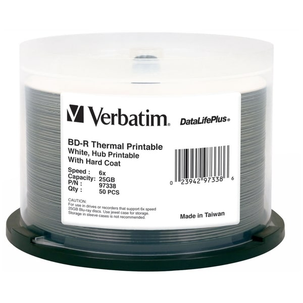Verbatim BD-R 25GB 6X DataLifePlus White Thermal, Hub Printable - 50p
