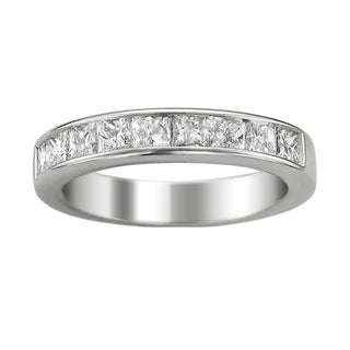 14k White Gold Women's 1 1/2ct TDW Certified Diamond 9-stone Wedding Band (G-H, I1)