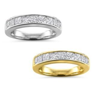 Brides Across America by Montebello 14k White Gold Women's 1 1/2ct TDW Certified Diamond 9-stone Wedding Band (G-H, I1)