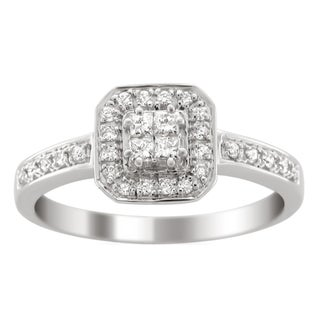 14k White Gold 1/3ct TDW Princess Cut Diamond Composite Ring (H-I, I1-I2)