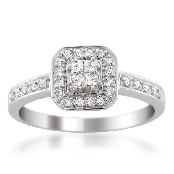Montebello 14k White Gold 1/3ct TDW Princess Cut Diamond Composite Engagement Ring (H-I, I1-I2)