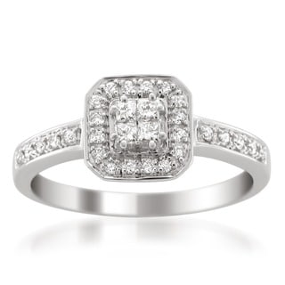 14k White Gold 1/3ct TDW Princess Cut Diamond Composite Engagement Ring (H-I, I1-I2)