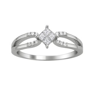 14k White Gold 1/4ct TDW Princess Double Row Diamond Ring (G-H, SI2)