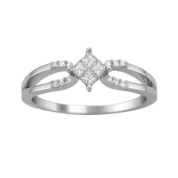 14k White Gold 1/4ct TDW Princess Double Row Diamond Ring (G-H, SI2)