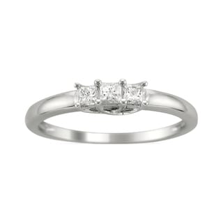14k White Gold 1/4ct TDW 3-Stone Princess Cut Diamond Ring (H-I, I1)
