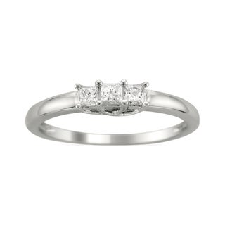 14k White Gold 1/4ct TDW Three Stone Princess Cut Diamond Ring (H-I, I1)