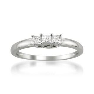 14k White Gold 1/4ct TDW Three Stone Princess Cut Diamond Ring (H-I, I1)