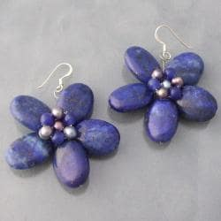 Sterling Silver Blue Lapis and Pearl Flower Earrings (3-4 mm) (Thailand)