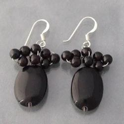 Sterling Silver Black Agate Beaded Earrings (Thailand)