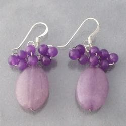 Sterling Silver Purple Amethyst Beaded Earrings (Thailand)