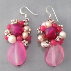 Sterling Silver Pink Agate and Pearl Earrings (Thailand)