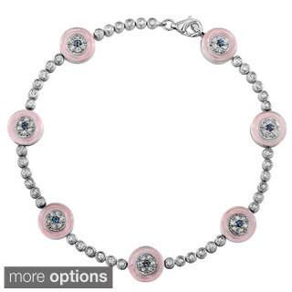 14k White Gold 1ct TDW Diamond and Sapphire Evil Eye Bracelet (J, I2)