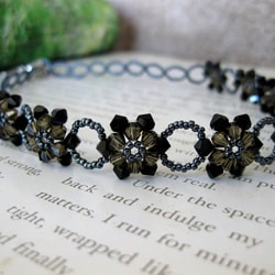 Stainless Steel Black Crystal Sunflower Choker (USA)