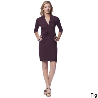 AtoZ Women's Ruched Front V-neck Dress