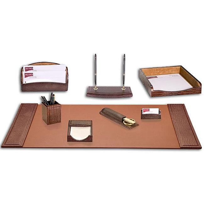 Dacasso Crocodile-embossed Leather 8-piece Desk Set