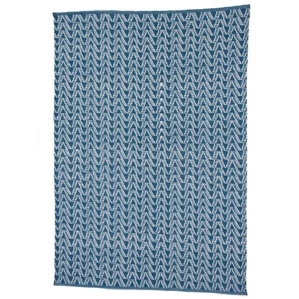 Handmade Thom Filicia Ackerman Summer Blue Rug (4' x 6')
