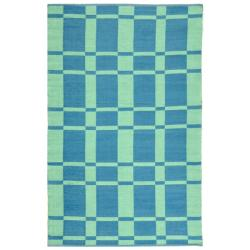 Handmade Thom Filicia Chatham Sea Blue Outdoor Rug (4' x 6')