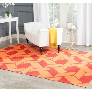 Handmade Thom Filicia Durston Blood Orange Outdoor Rug (4' x 6')