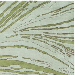 Handmade Thom Filicia Niagra Spring Green N.Z. Wool Rug (4' x 6')