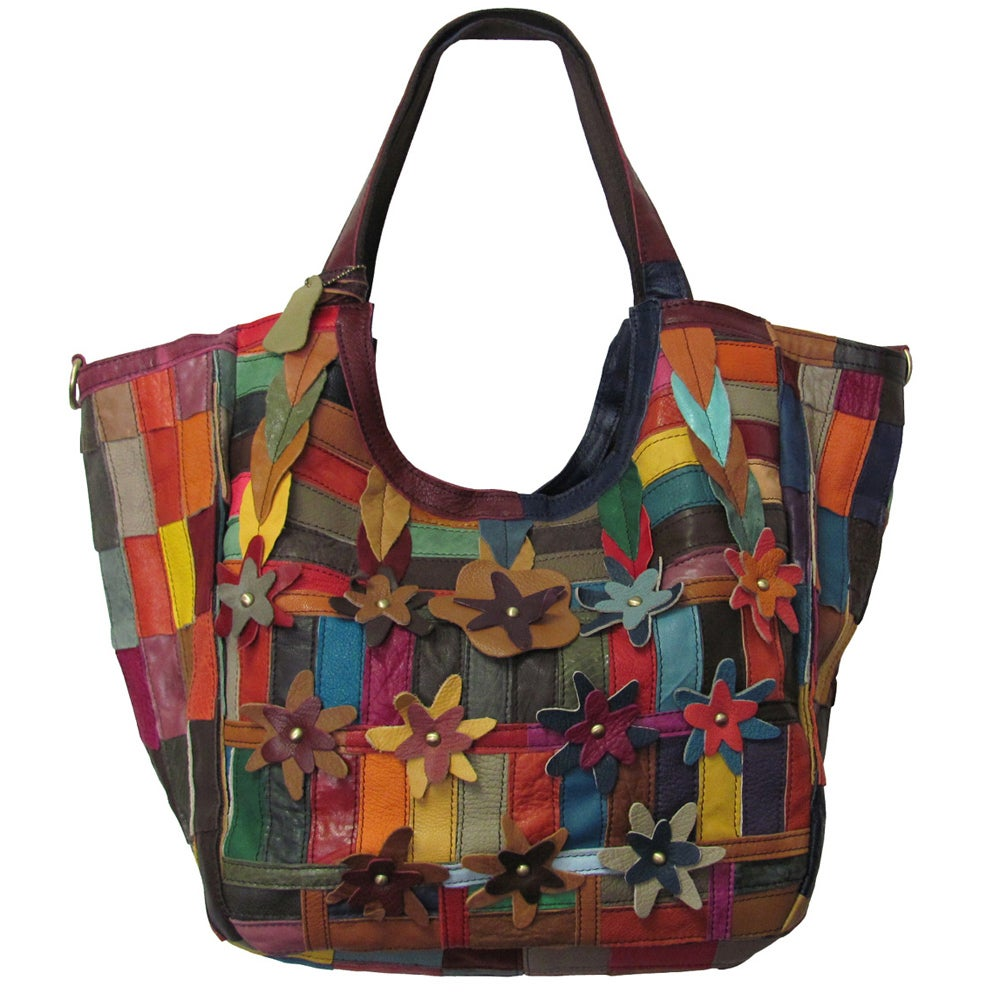 Amerileather Floral Leather Tote Bag