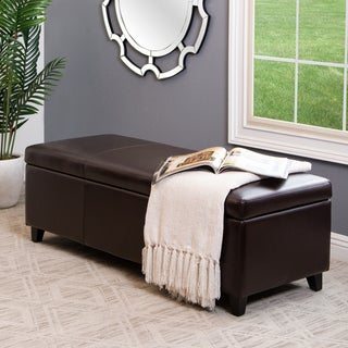 Abbyson Living Frankfurt Bicast Leather Storage Ottoman