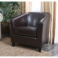 Abbyson Living Montecito Dark Brown Bicast Leather Armchair