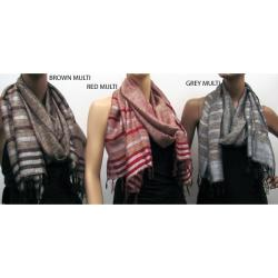 Metallic Multi-stripe Faux Pashmina Scarves (Pack of 3)