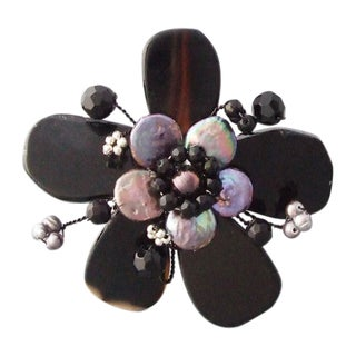 Black Agage and Pearl Flower Cuff Bracelet (3-5 mm) (Thailand)