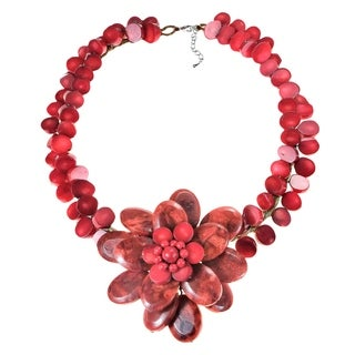 Sterling Silver Reconstituted Red Coral Flower Choker Necklace (Thailand)
