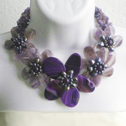 Purple Amethyst and FW Pearl Floral Wrap Choker (3-12 mm) (Thailand)