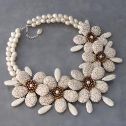 White Turquoise and Pearl Floral Wrap Necklace (3-12 mm) (Thailand)