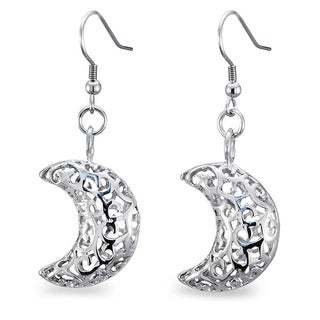 Stainless Steel Filigree Cut-out Half Moon Earrings