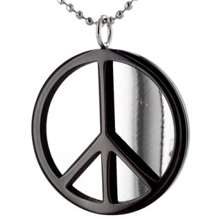 West Coast Jewelry Stainless Steel Black Peace Sign Polished Necklace